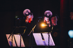 HIVE Choir & Isobel Anderson perform live score for at 'La Révolution...' at Belfast Film Festival. Photo: Filly Campbell